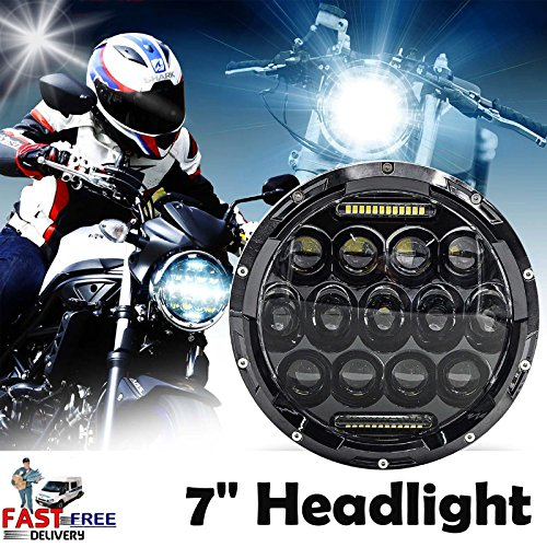 7 Inch 75W Motorcycle LED Headlight Assembly Round DRL Hi/Lo Beam for Harley Davidson Road King 1994-2003 2007-2015 Sealed Beam Driving Lamp 1PCS 2 Year Warranty -