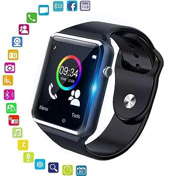 Jpantech Smartwatch Reloj Inteligente Smart Watch con Cámara Soporte de Pantalla Táctil Tarjeta SIM Compatible con Samsung Sony HTC Huawei Xiaomi ...
