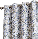 HLC.ME Amalfi Faux Silk 100% Blackout Room Darkening Thermal Lined Curtain Grommet Panels For Bedroom - Energy Efficient, Complete Darkness, Noise Reducing - Set of 2 (Blue/Yellow, 52