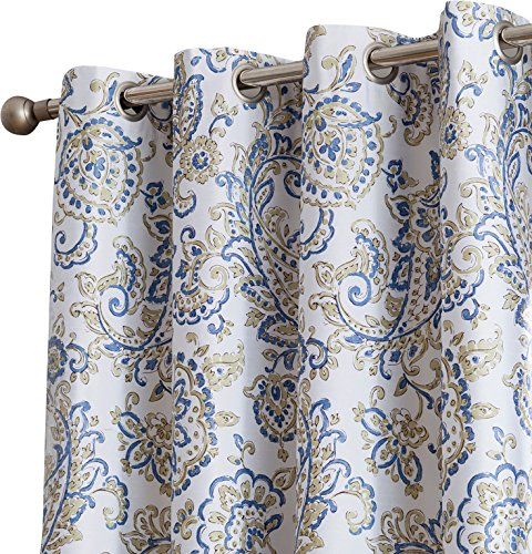 HLC.ME Amalfi Paisley 100% Blackout Room Darkening Thermal Lined Curtain Grommet Panels for Bedroom - Energy Efficient, Complete Darkness, Noise Reducing - Set of 2 (Blue/Yellow, 52