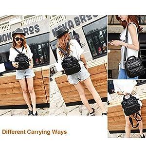 Small PU Leather Shoulder Bag for Women Crossbody Handbag Soft Convertible Backpack Purse Multi Pocket Casual Travel Purses Katloo (Black)