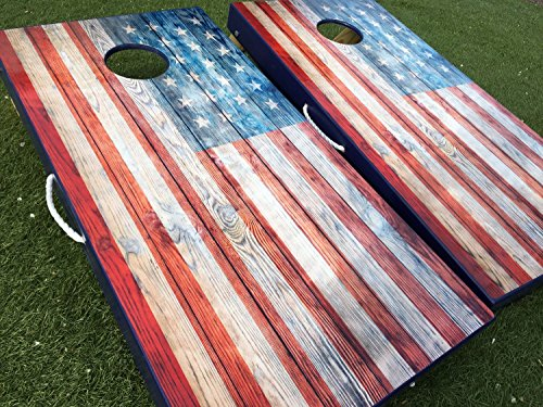 American Flag Rustic Cornhole Board Set by West Georgia Cornhole