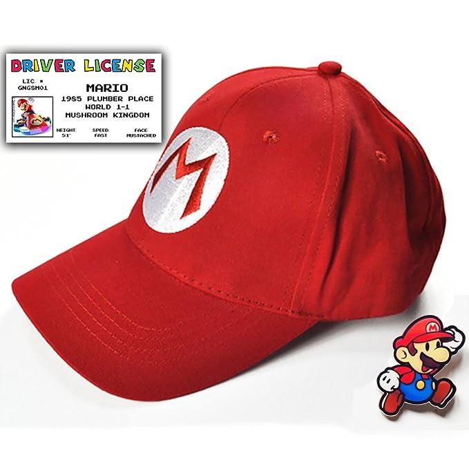 2e07413e5 Super Mario Bros Gift Set - Baseball Cap, Driver License & Pin | costume hat