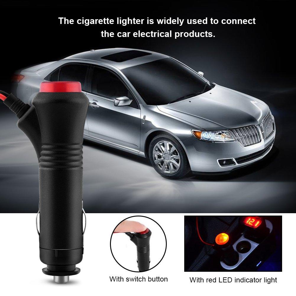 Auto Male Zigarettenanz/ünder Stecker Adapter Outlet Netzteil Auto Zigarettenanz/ünder Verl/ängerungskabel mit On Off Switch-Taste