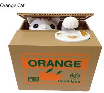 cdycam automatizado lindo gato robar monedas Itazura Hucha robar dinero ahorro caja niño regalo, Orange Cat: Amazon.es: Hogar