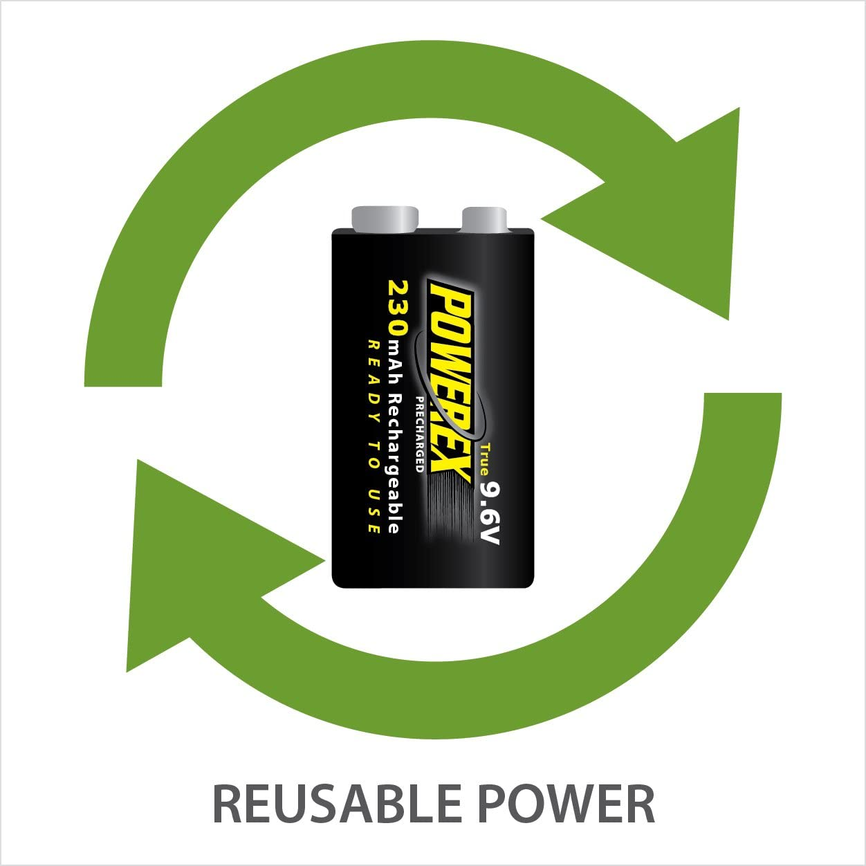 MHR9VP Powerex Low Self-Discharge Precharged 9V 9.6V Rechargeable NiMH Batteries