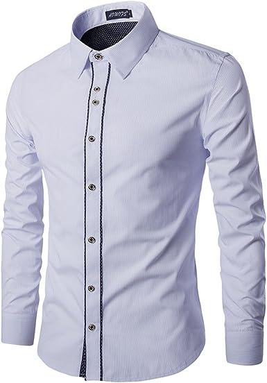 Camisa De Manga Larga Para Hombre Estilo Business Slim Fit Clásico Camisas De Vestir: Amazon.es: Ropa y accesorios