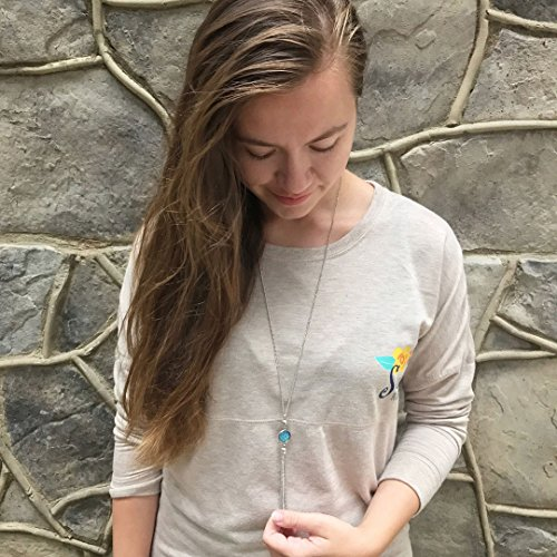 BOUTIQUELOVIN Y-Shaped Long Chain Tassel Necklace With Super Sparkly Faux Druzy Stone, Stainless Steel by BOUTIQUELOVIN (Image #2)