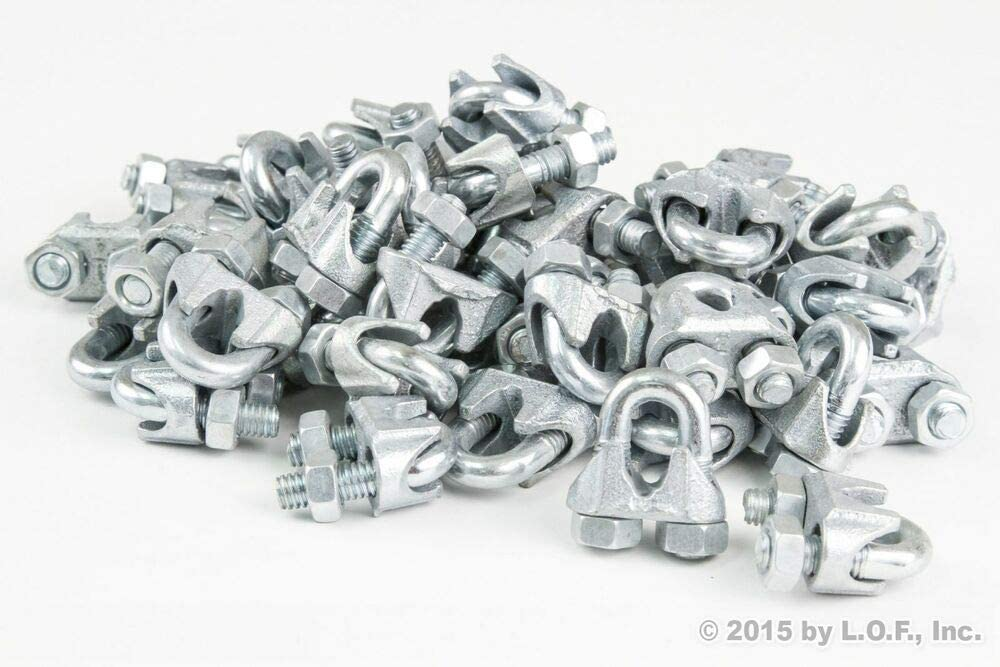 (50) 1/4 Inch M3 3mm Galvanized Zinc Plated Wire Rope Clip Clamp Chain 61Mnfg2BgThL