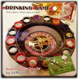 16 Shot Glass Deluxe Roulette & Poker Chips Drinking Game Set in Tin Case
