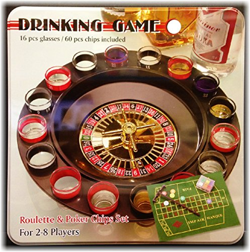 Deluxe Roulette Set - 16 Shot Glass Deluxe Roulette & Poker Chips Drinking Game Set in Tin Case