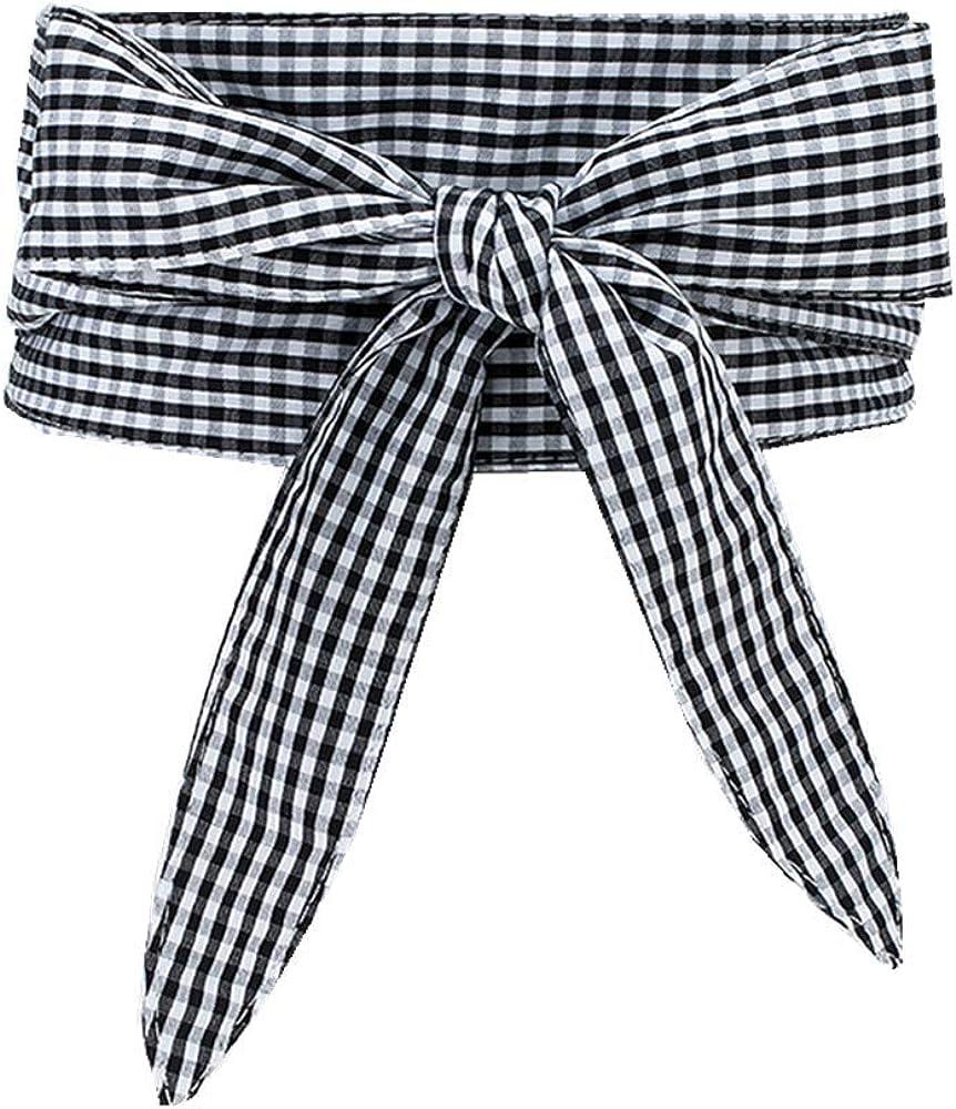 JDSXXZ Moda retro para mujer Tie Striped Plaid Faja ...