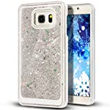 Liquid Case for Samsung Galaxy S7,Creative Design Floating Bling Glitter Sparkle Diamond Hexagon Stars Hard Plastic Case for Samsung Galaxy S7(Silver)