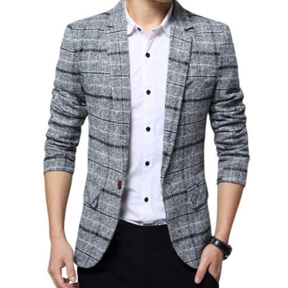 Uomo Casuale Un pulsante Cappotto Slim Fit Giacca Blazers A Quadri Outwear Maniche Lunghe Giacca da Uomo Casual Elegante Vestito di Affari Cappotto Giacca Blazers