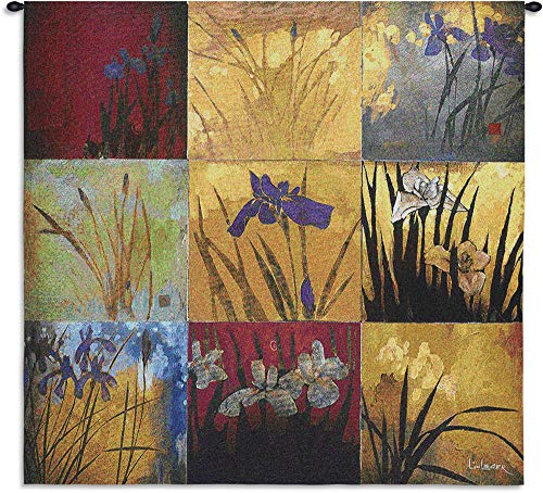 - Iris Nine Patch II by Don Li-Leger | Woven Tapestry Wall Art Hanging | Abstract Asian Fusion Nature Panels | 100% Cotton USA Size 31x31