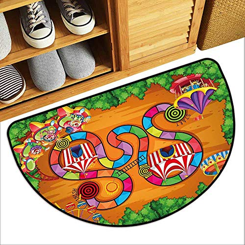 DILITECK Welcome Door mat Board Game Carnival in Town Circus Characters Tents Ferris Wheel Ride Route Curves Forest Suitable for Outdoor and Indoor use W31 xL20 Multicolor (Tent Ego Pet)