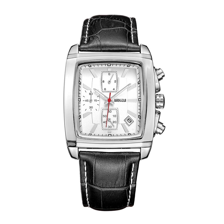 Herren Classy Vintage Edelstahl Rechteck Fall Leder Band Luxus Armbanduhr