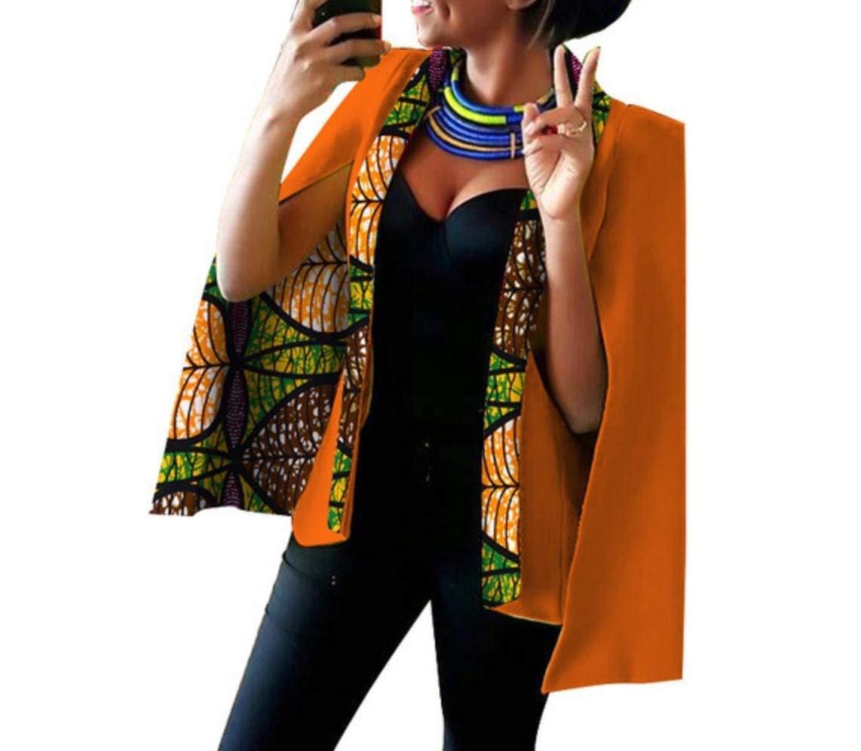 Doufine Women's Coat African Floral Outwear Jacket Leisure Small Blazer 19 5XL