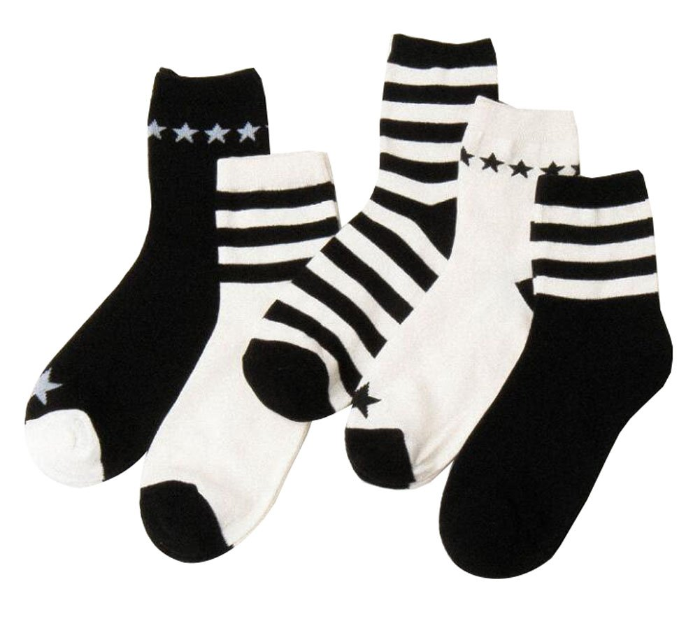 5 Paar Weiß und Schwarz Streifenmuster Crew Socken für Frauen Black Temptation