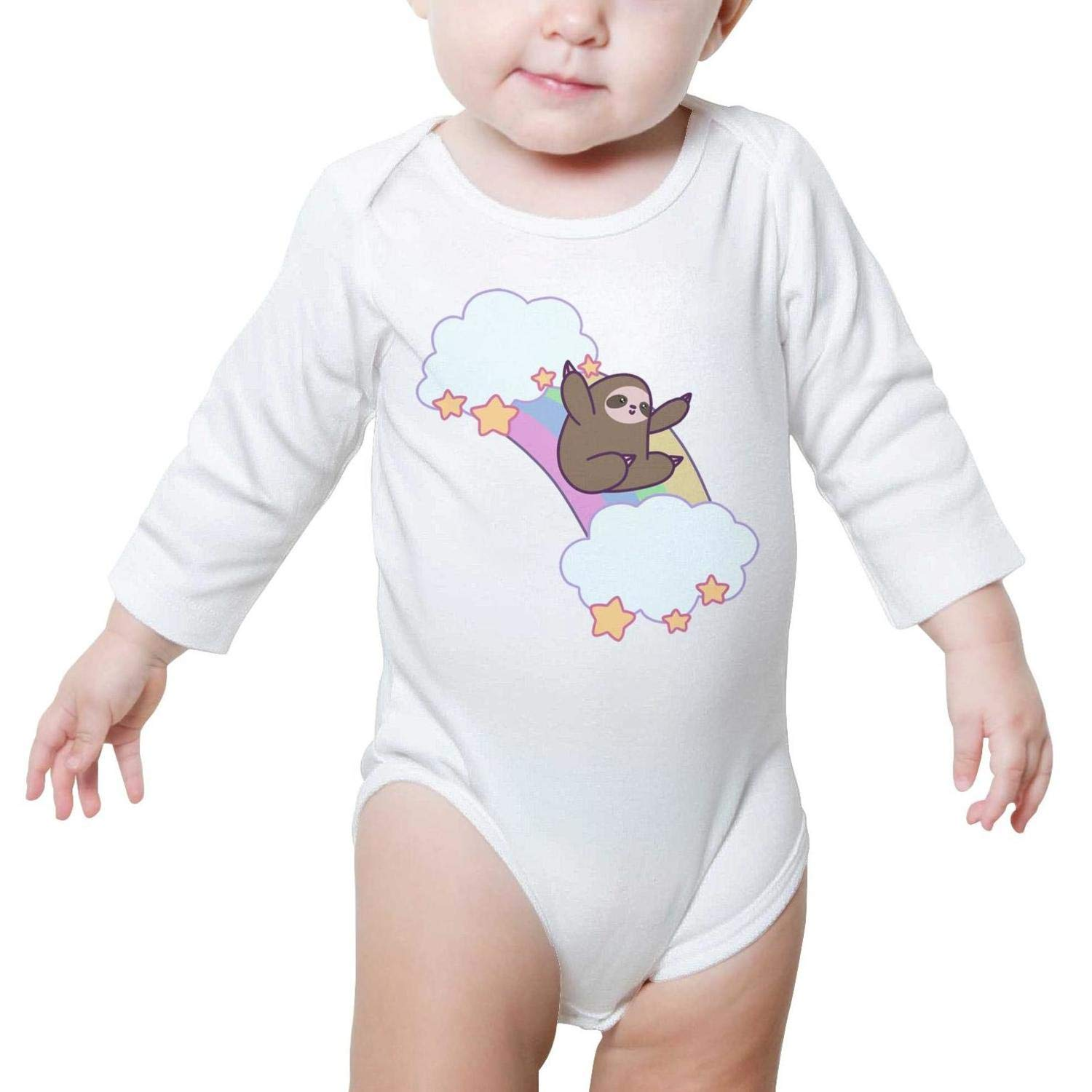 6a088d18c Amazon.com: Rainbow Cloud Sloth Baby Onesie Clothing Long Sleeve Natural  Organic Cotton Outdoor: Clothing
