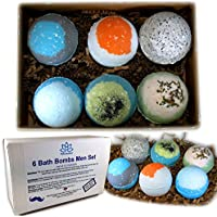Bath Bombs For Men - Relaxing Epsom Salt, Organic Essential Oils Handmade In USA - Perfect Gift Set For Men, Husband, Dad, Father
