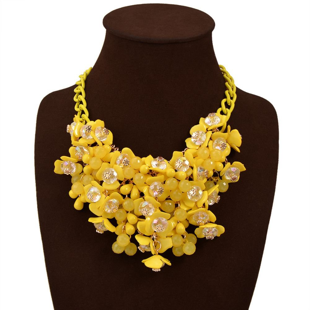 HoBST Yellow Flower Choker Statement Necklace Women Fashion Bubble Bib Collar Chain Pendant Necklaces