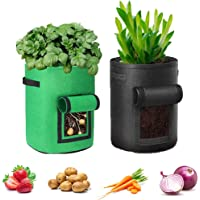 2 Piezas Bolsas de Cultivo de Plantas, Bolsa para Cultivo de Patatas, Bolsa de Cultivo de Plantas Transpirable de Tela…