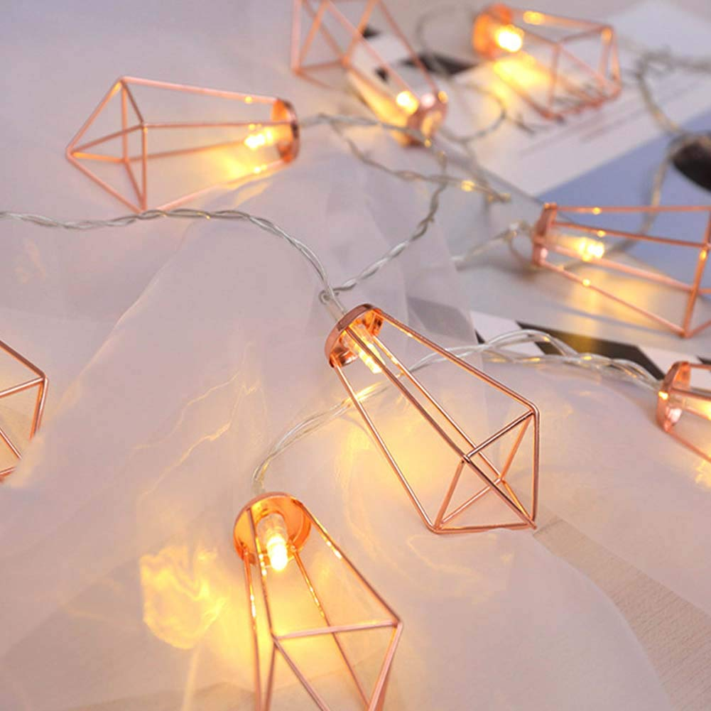 quality design f52c9 4e446 Twinkle Star 10 LED 6.6 ft Diamond String Lights Battery Operated,  Geometric String Lights Warm White, Rose Gold Metal Lamps Decor for Indoor  Wedding ...