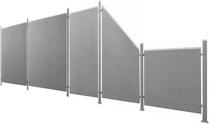 Privacidad Polirratán/Valla Juego de 11 piezas Antracita aprox. 588 cm Prime Tech: Amazon.es: Jardín
