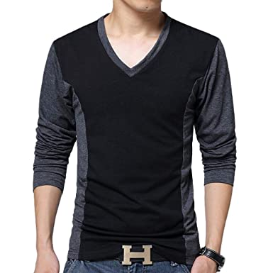 865032404d8 Romantiko Mens Slim Fit Basic V Neck Long Sleeve Casual T Shirts Tops Black  US S