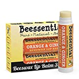 Beessential All Natural Orange Ginger Lip Balm 3 pack - Heals and Prevents Dry and Chapped Lips - Great for Men, Women, and Children - Moisturizing Beeswax, Coconut, Shea and Cupuacu Butter
