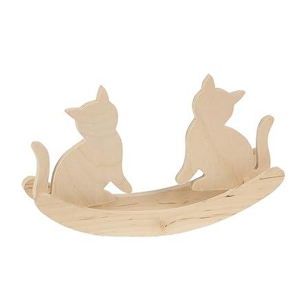 2 Cm Animales Juguete Bartu 23 X 11 Gatos Gato Madera Balancín lF1JcTK