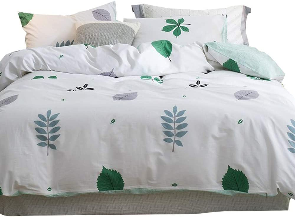 EnjoyBridal Cartoon Plants Leaf Bedding Duvet Cover Sets Queen Girls Boys White Washed Cotton Teens Comforter Cover Kids Bed Reversible Quilt Bedding Set Full, No Comforter