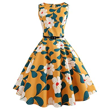 720f6c8e010 vmree Women Vintage 1950 s Audrey Hepburn Style Dress Floral Print Waisted  Rockabilly Swing Sundress (Yellow