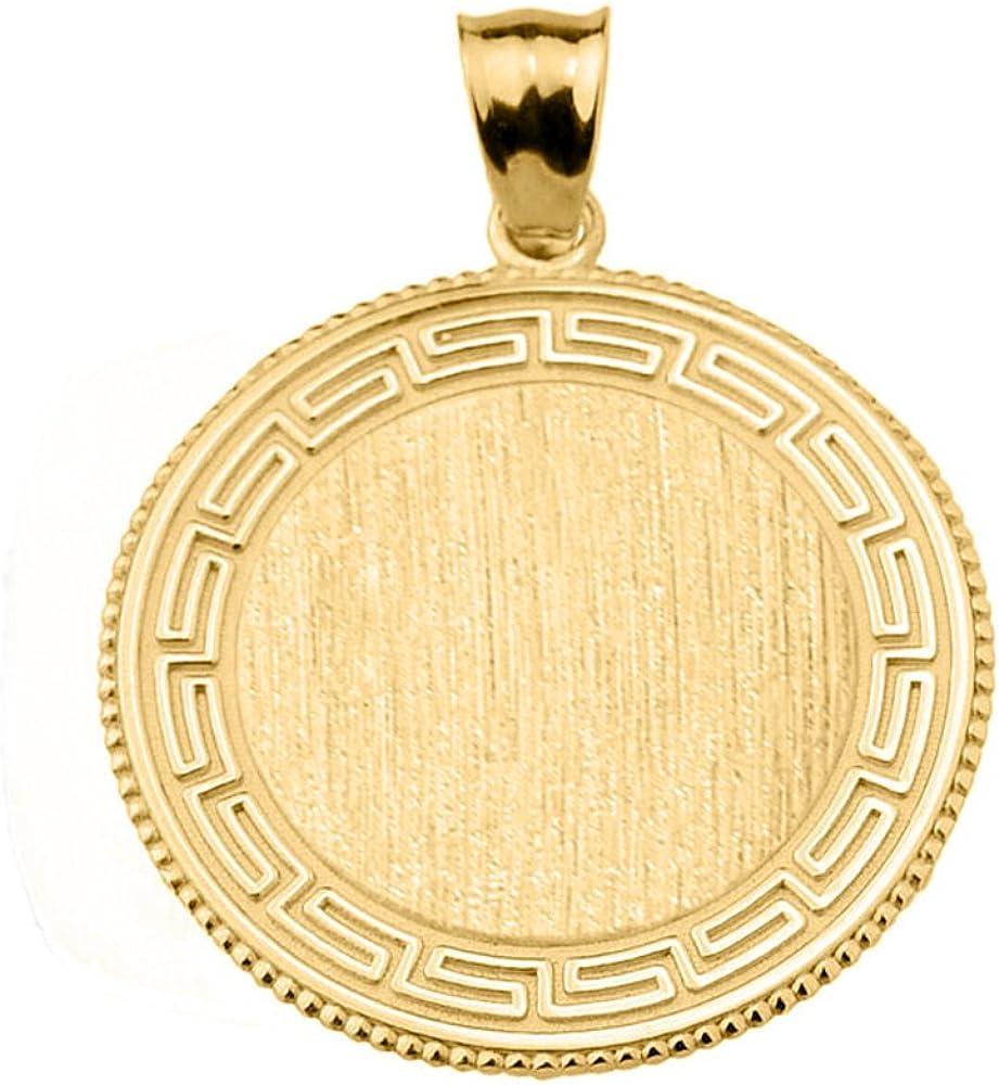 Fine Sterling Silver Engravable Greek Key Oval-Shaped Charm Pendant Necklace