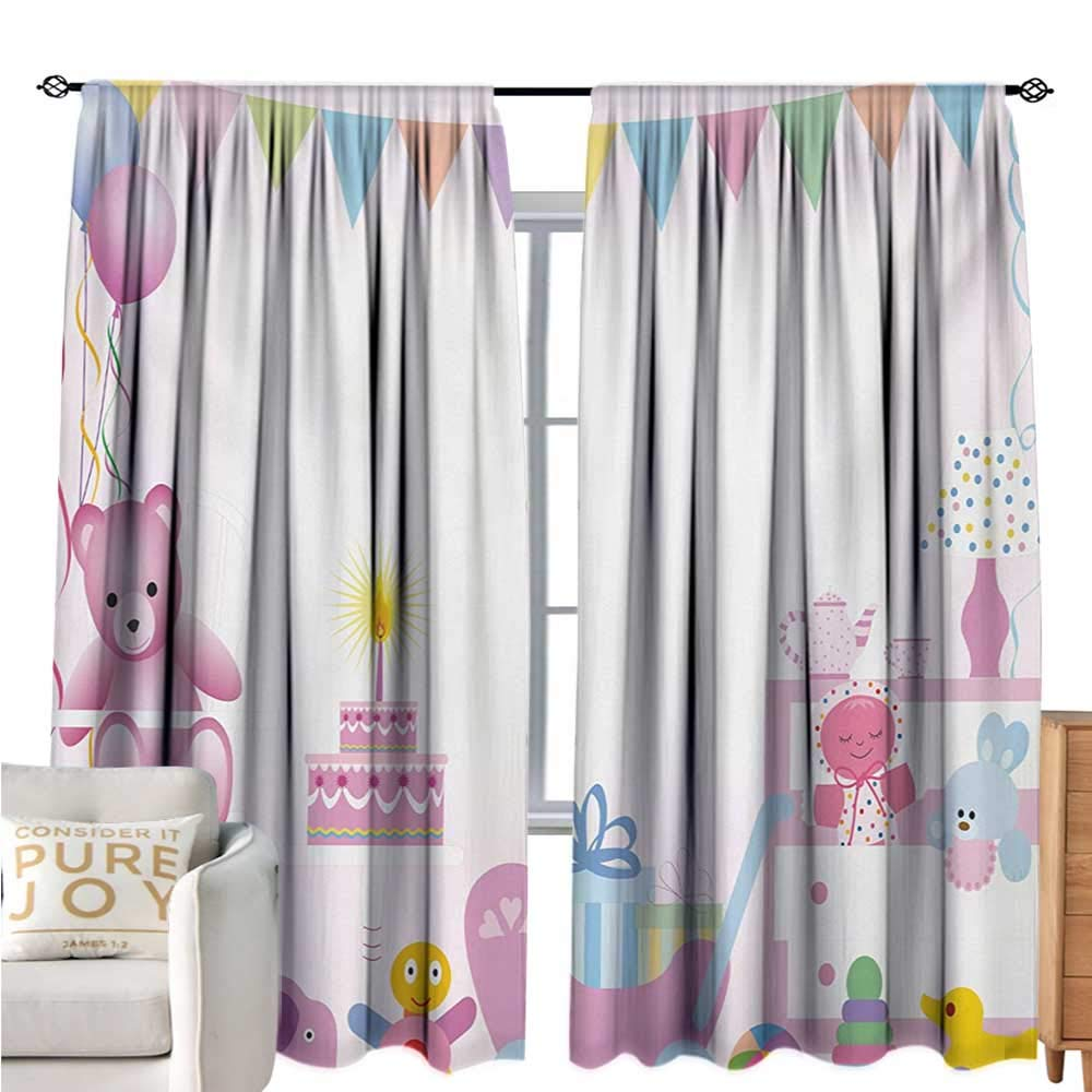 bybyhome Kids BirthdayBlackout Window CurtainBaby Girl Birthday Celebration Party with Flags and Bears Cute Toys PrintDecor Curtains by W96 xL72 Pale Pink