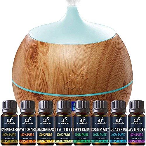 ArtNaturals Essential Oil Bluetooth Diffuser Set - (400ml Tank & Top 8 Oil Set) - Peppermint, Tee Tree, Lavender, Eucalyptus - Auto Shut-Off 7 Color LED Lights – Therapeutic Grade