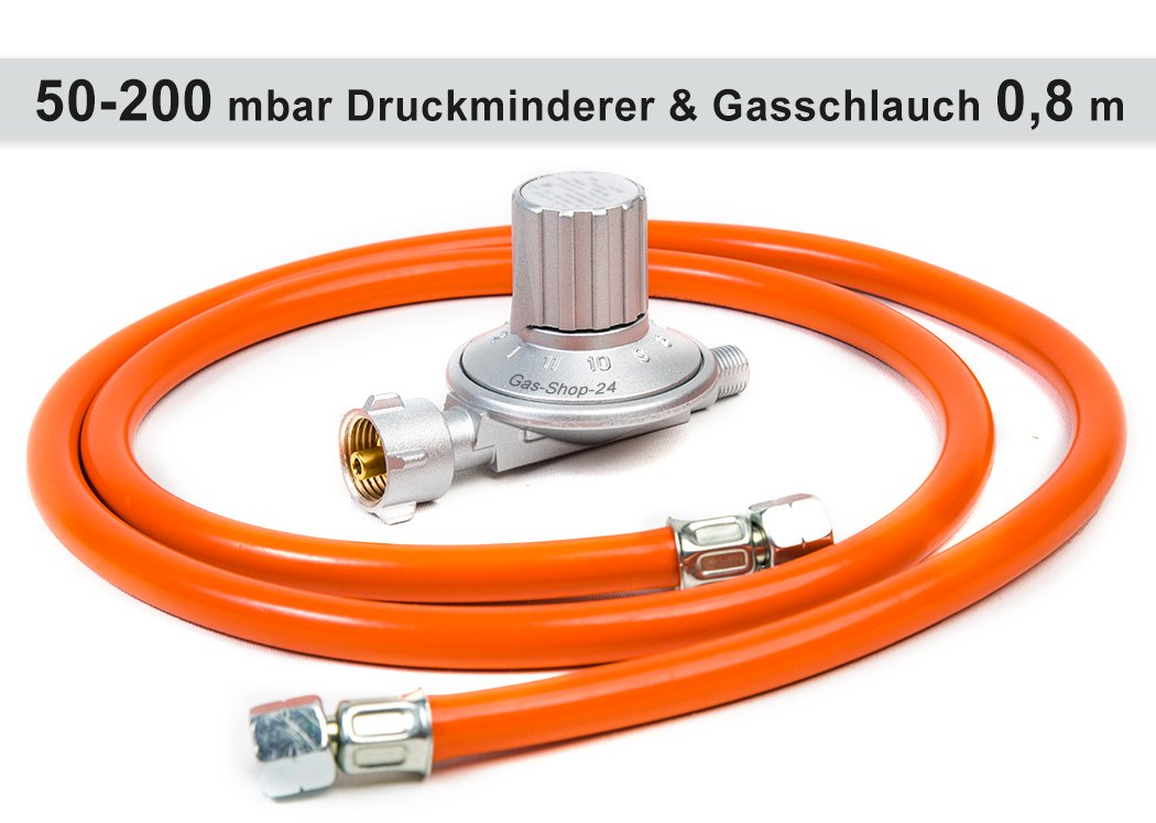 Übergang Gasherd Gaskocher Anschluss Druckminderer 50 mbar Gasschlauch 80 cm