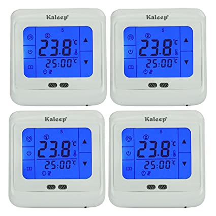 Kaleep - Kit de 4 termostatos de pared digitales programables para control de calefacción (pantalla