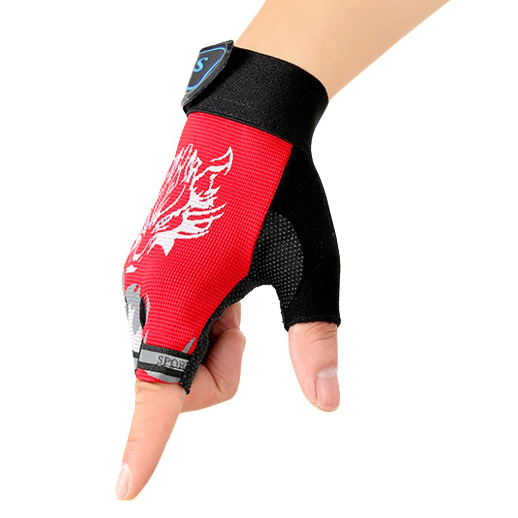 Children Cycling Fingerless Gloves Breathable Half Finger Non-Slip Shock-Absorbing Kids Bike Riding Gloves Outdoor Sports Gloves for Fishing Bicycle Roller Skating Hunting Climbing for Girls Boys
