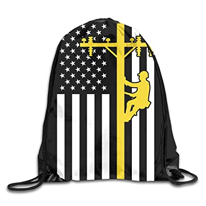 Image Unavailable. Image not available for. Color  Men s and Women s  Drawstring Backpack Bag Lineman American Flag ... ee2069028