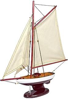 53 cm L Segelyacht Holz mit Stoffsegel H 38 cm Modell Schiff