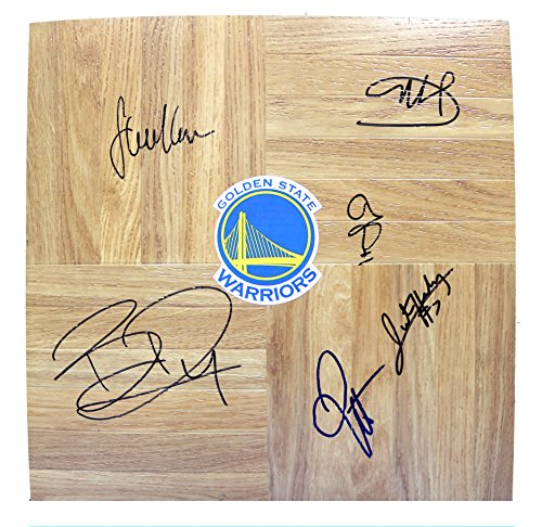 (Golden State Warriors 2014-15 NBA Champions Team Autographed Signed Basketball Floorboard - 6 Autographs)