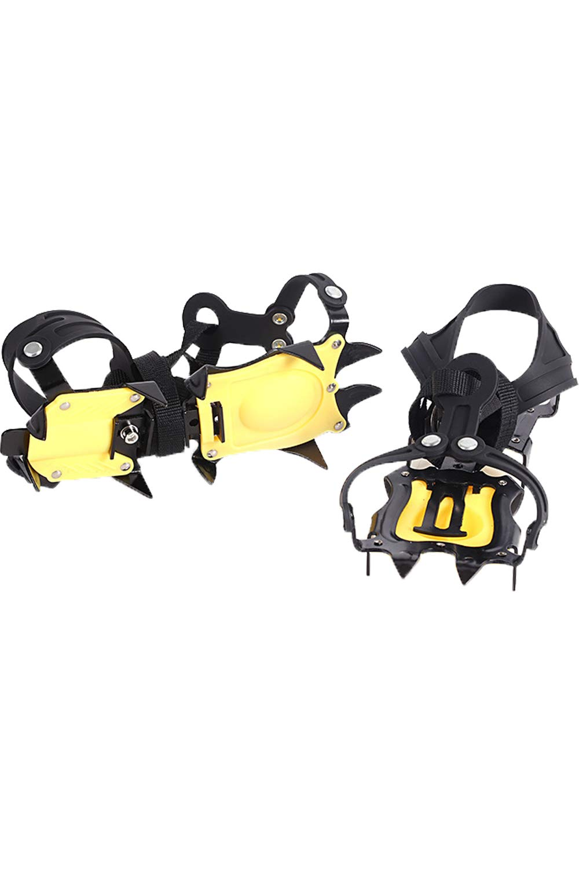 SMTD Trekking Traction Cleats Ski Ice Snow Shoes Grips Walking Anti Slip 10 Teeth Spikes Hiking Stainless Steel Crampons