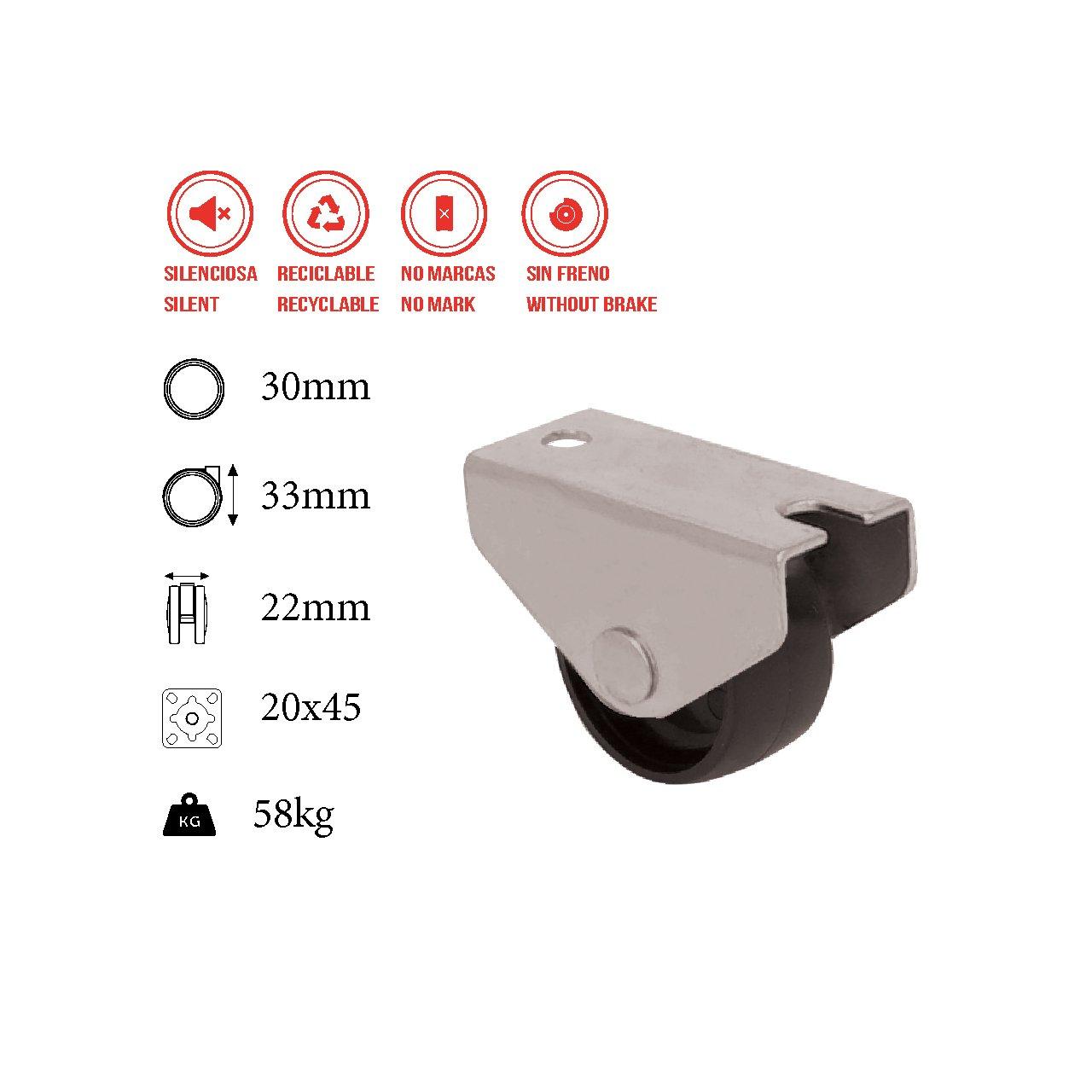 Durchmesser 25mm inklusive Montageplatte und Schrauben 30MM ohne Bremse Stumm Gleitlager Bett QC L25M22P 4 M/öbelr/äder