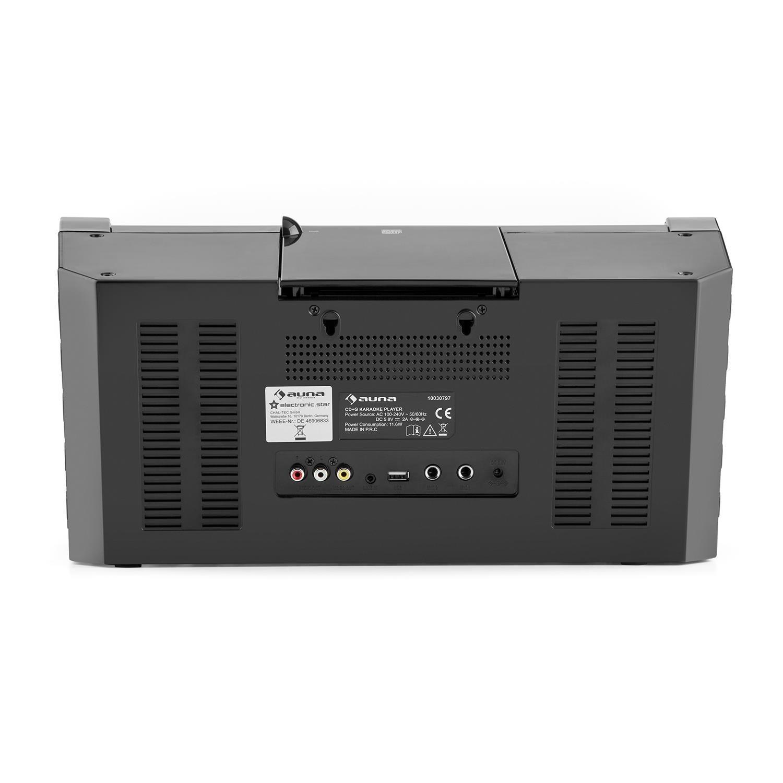 Auna DiscoFever LED /• Karaoke /• Set de Karaoke /• Bluetooth /• Pantalla TFT 7 Pulgadas /• 1 x micr/ófono din/ámico /• Efectos LED /• Reproductor de CD+G /• USB /• Salida de Video /• Entrada AUX /• N
