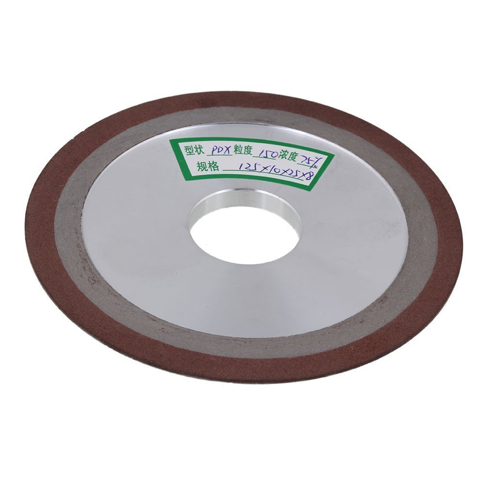 Ewead, 125x10x25mm One Side Tapered Silver Diamond Aluminum Resin Grinder Cutter Grinding Wheel with 150# Grit