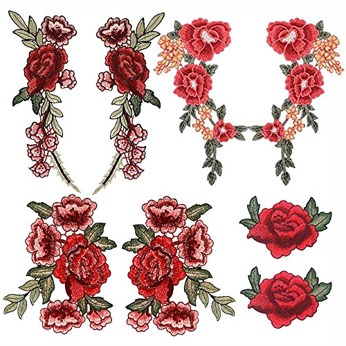 Mahoo 8 Pieces Lace Fabric Embroidery Rose Flower Applique Patches Sew on Patch for Craft DIY Dress Clothes Shoes Bag Hat Craft (Sew Fabric Flowers)
