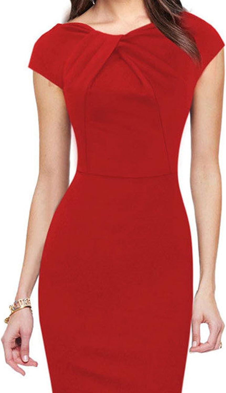 Zonsaoja Womens Bodycon Pencil Short Sleeve Vintage Elegant Slim Dress