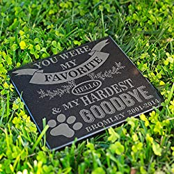 Lara Laser Works Personalized Dog Memorial Customized Dog Grave Marker Custom Headstone - DSG#3 - Aged Granite